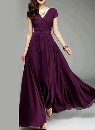 Polyester Solid Cap Sleeve Maxi Dresses