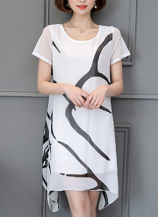 Color Block Tshirt Short Sleeve Knee-Length Dress