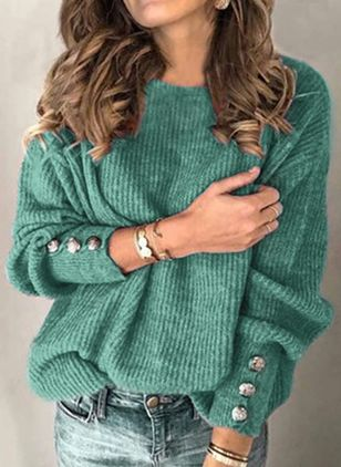 Round Neckline Solid Casual Loose Regular Shift Sweaters (107251343)