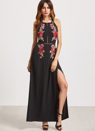 Floral Embroidery Skater Maxi A-line Dress
