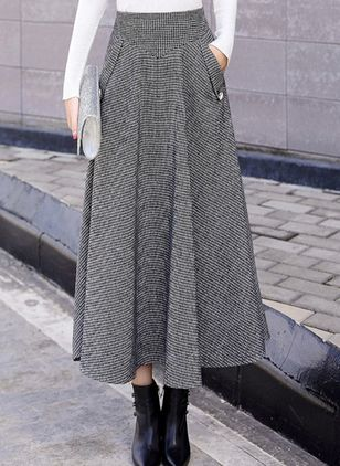 Solid Maxi Casual Pockets Skirts (107805030)