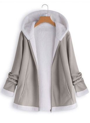 Long Sleeve Hooded Zipper Coats (106821934)