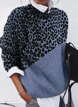 Round Neckline Leopard Casual Loose Regular Shift Sweaters (100037848)