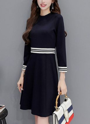 Color Block Skater Long Sleeve Above Knee A-line Dress