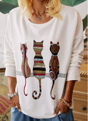 Animal Casual Round Neckline Long Sleeve Blouses (116140522)