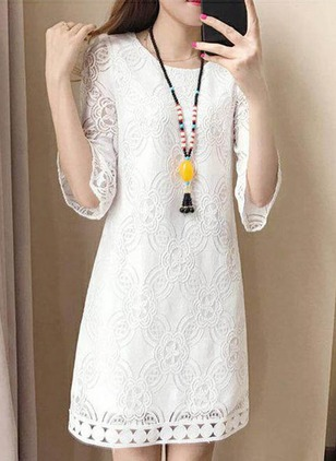 Solid Lace 3/4 Sleeves Above Knee Shift Dress