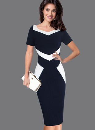 Polyester Color Block Short Sleeve Midi Dresses