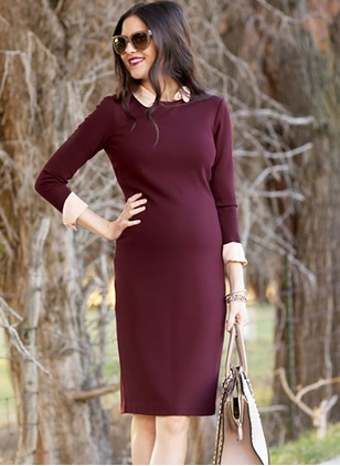 Polyester Solid Long Sleeve Knee-Length Dresses