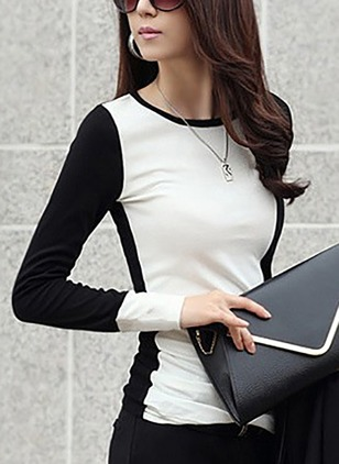 Color Block Elegant Polyester Round Neckline Long Sleeve Blouses