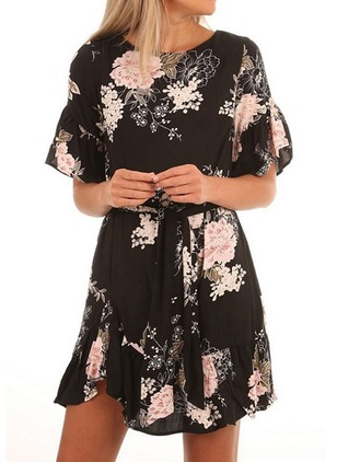 Floral Ruffles Wrap Half Sleeve A-line Dress
