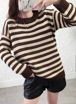 Round Neckline Stripe Loose Regular Sweaters