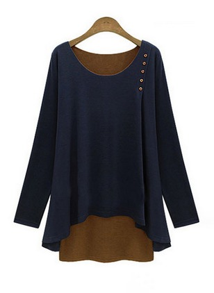 Solid Casual Viscose Round Neckline Long Sleeve Blouses