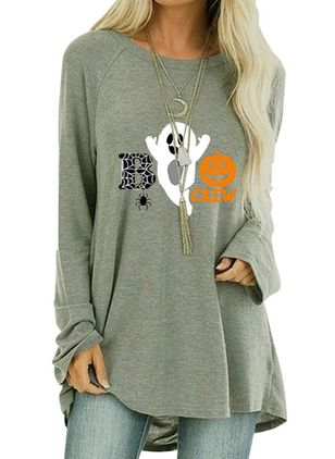 Alphabet Round Neck Long Sleeve Halloween T-shirts (108859024)