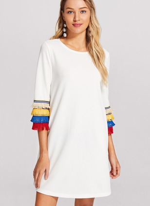 Color Block Tassel 3/4 Sleeves Shift Dress