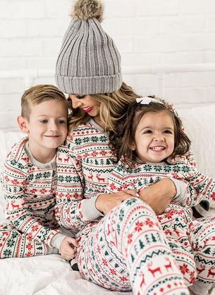 Family Look Geometric Christmas Long Sleeve Family Outfits (122030185)