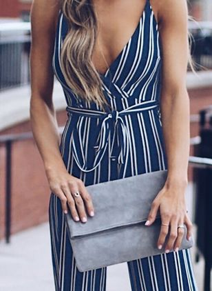Stripe Sleeveless Jumpsuits & Rompers