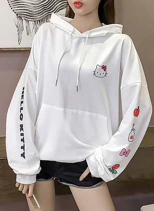 Floral Casual Cotton Hooded Pockets Sweatshirts