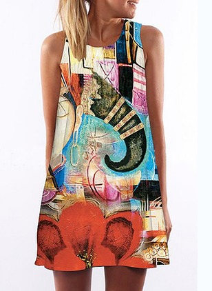 Polyester Character Sleeveless Above Knee Dresses