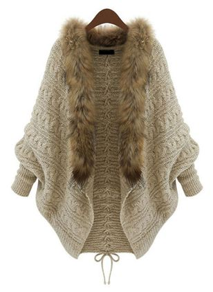Long Sleeve Collarless Fur Coats (103038429)