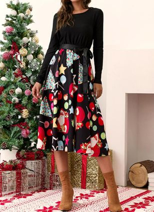 Christmas Geometric Round Neckline Midi X-line Dress (122030073)