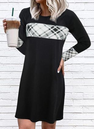 Casual Plaid Tunic Round Neckline A-line Dress (146718475)