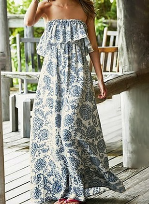 Floral Ruffles Peasant Maxi Shift Dress