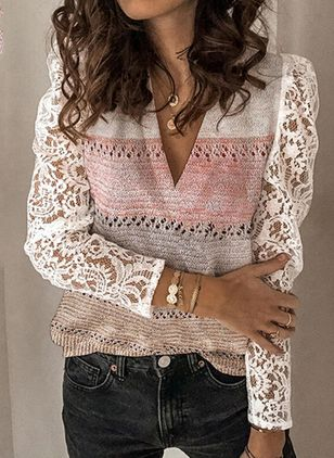 V-Neckline Color Block Casual Regular Lace Hollow Out Sweaters (146662556)