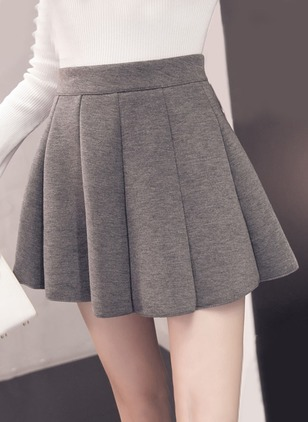 Cotton Solid Above Knee Casual Zipper Skirts