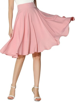 Polyester Solid Mid-Calf Casual Skirts