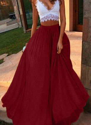Solid Maxi Casual Skirts (146744043)
