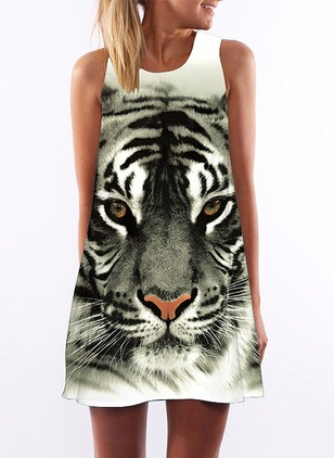 Cotton Animal Sleeveless Above Knee Casual Dresses