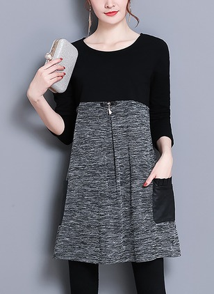Cotton Color Block Long Sleeve Knee-Length Dresses