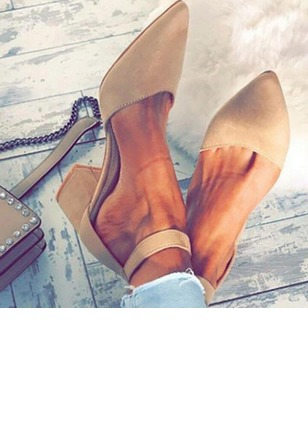 Women's Ankle Strap Pointed Toe Nubuck Chunky Heel Pumps