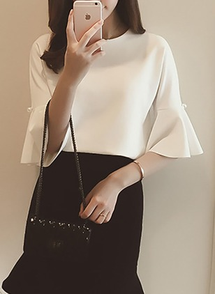 Solid Cute Cotton Round Neckline 3/4 Sleeves Blouses