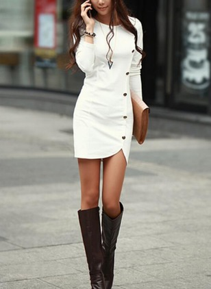 Solid Buttons Pencil Long Sleeve Bodycon Dress