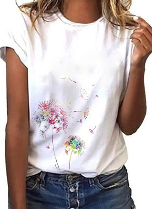 Floral Round Neck Short Sleeve Casual T-shirts (147037029)