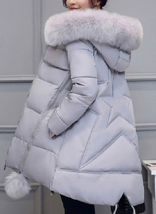 Long Sleeve Hooded Removable Fur Collar Padded Coats
