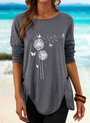 Floral Round Neck Long Sleeve Casual T-shirts (146834200)