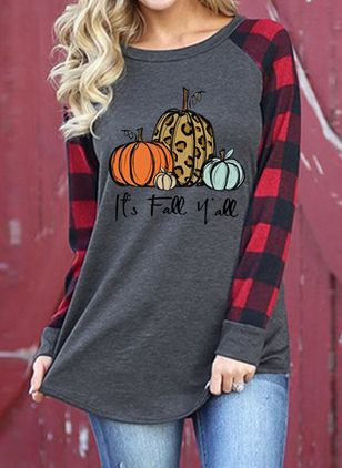 Color Block Round Neck Long Sleeve Halloween T-shirts (108859012)