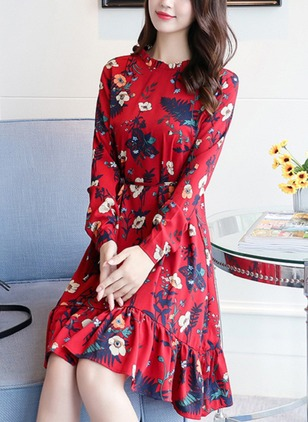 Floral Ruffles Wrap Knee-Length A-line Dress