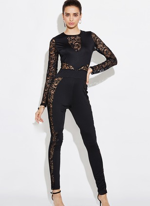Lace Solid Long Sleeve Lace Jumpsuits & Rompers