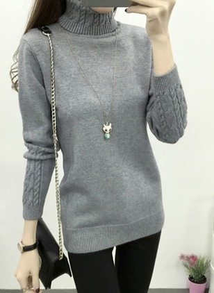 Polyester High Neckline Solid Tight Sweaters