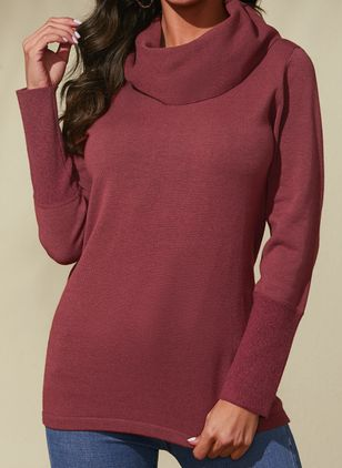 Draped Neckline Solid Casual Loose Regular Shift Sweaters (1432283)