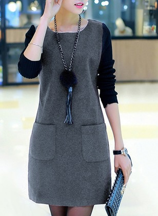 Solid Pockets Sweatershirt Long Sleeve A-line Dress