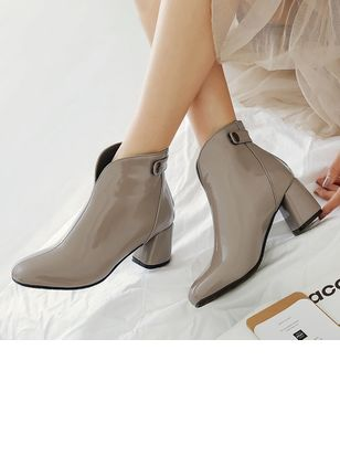 Women's Zipper Ankle Boots Patent Leather Chunky Heel Boots
