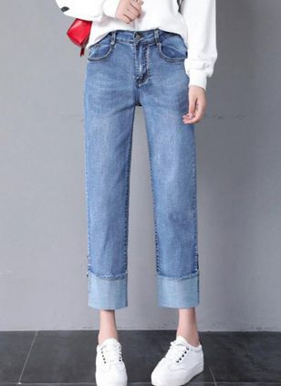 Casual Straight Mid Waist Denim Jeans Pants (113204173)