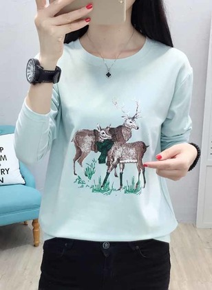 Animal Round Neck Long Sleeve Casual T-shirts