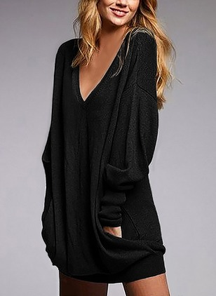 Solid Tshirt V-Neckline Long Sleeve Shift Dress