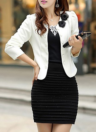 3/4 Sleeves Scoop Neck Bow Blazers