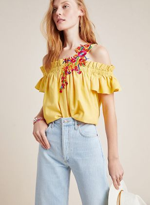 Color Block Casual Square Neckline Short Sleeve Blouses